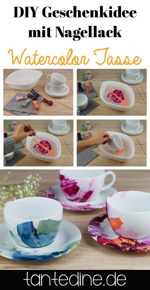 pinterest diy swatercolor tasse nagellack tantedine. Black Bedroom Furniture Sets. Home Design Ideas