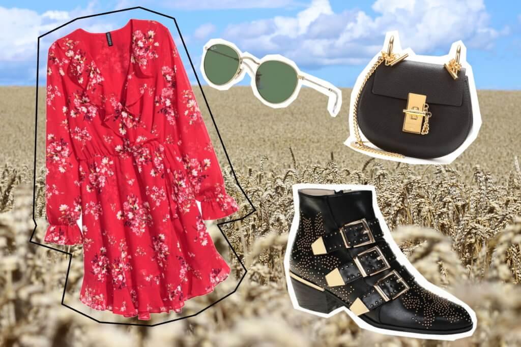 Trendfarbe im Herbst Rot Wickelkleid tantedine