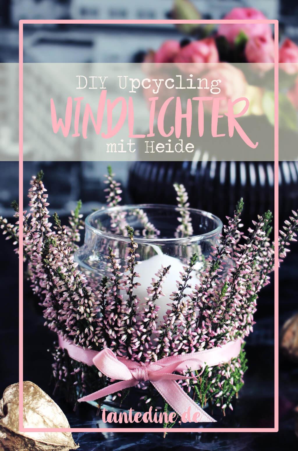 DIY Windlichter mit Heide Heideblumen Kerzen tantedine