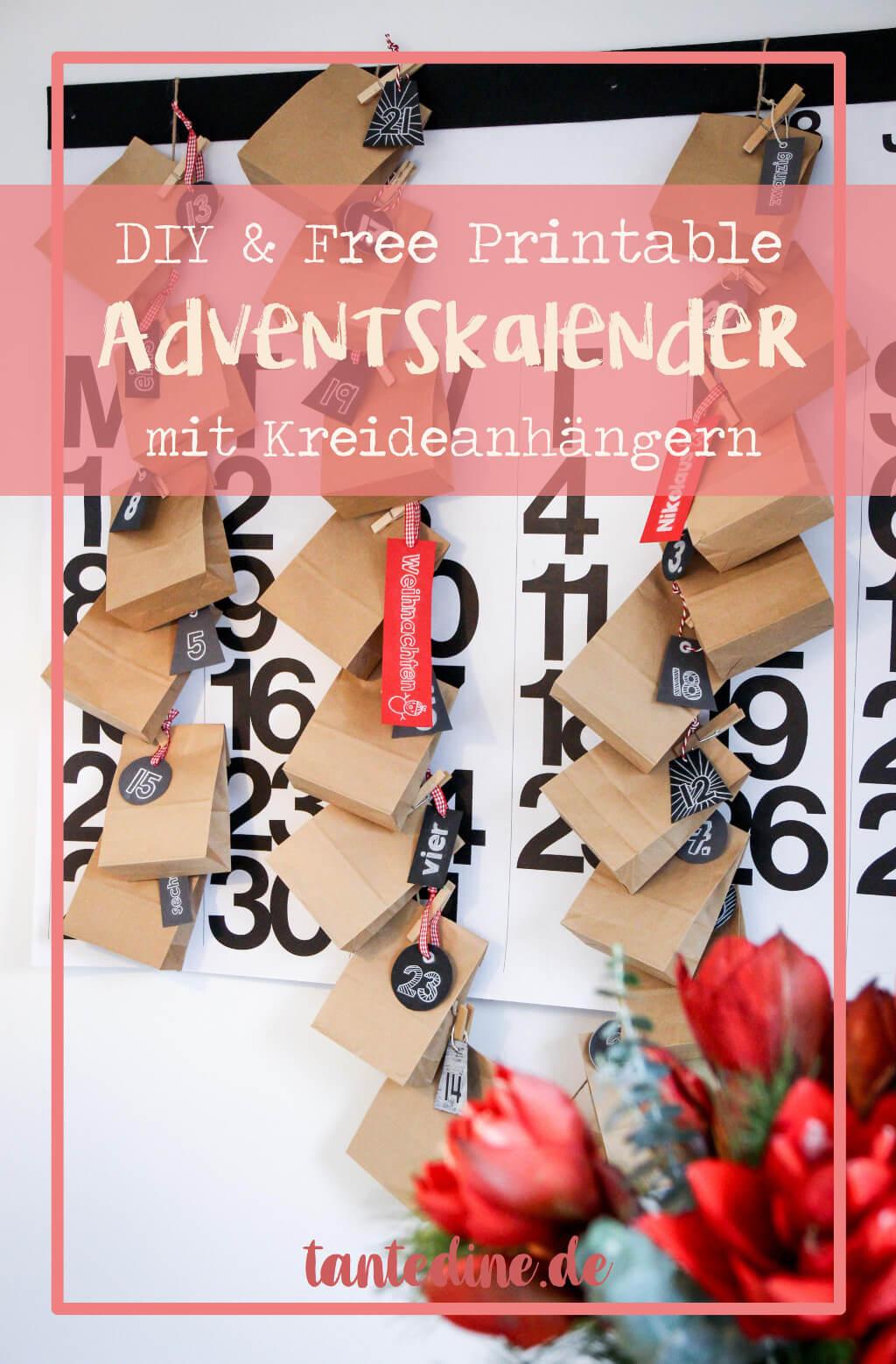 DIY Adventskalender mit Kreideanhänger Freebie basteln tantedine