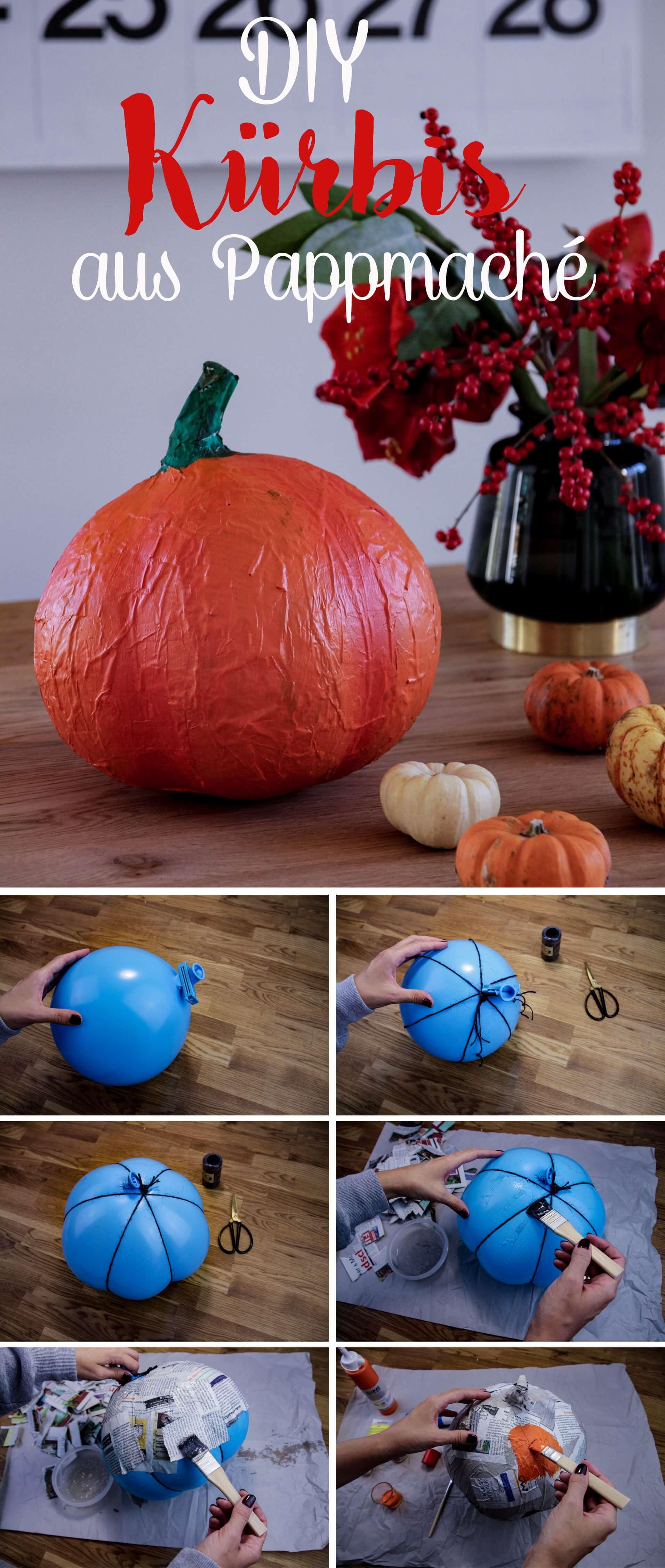 Kürbis aus Pappmaché DIY für den Herbst tantedine