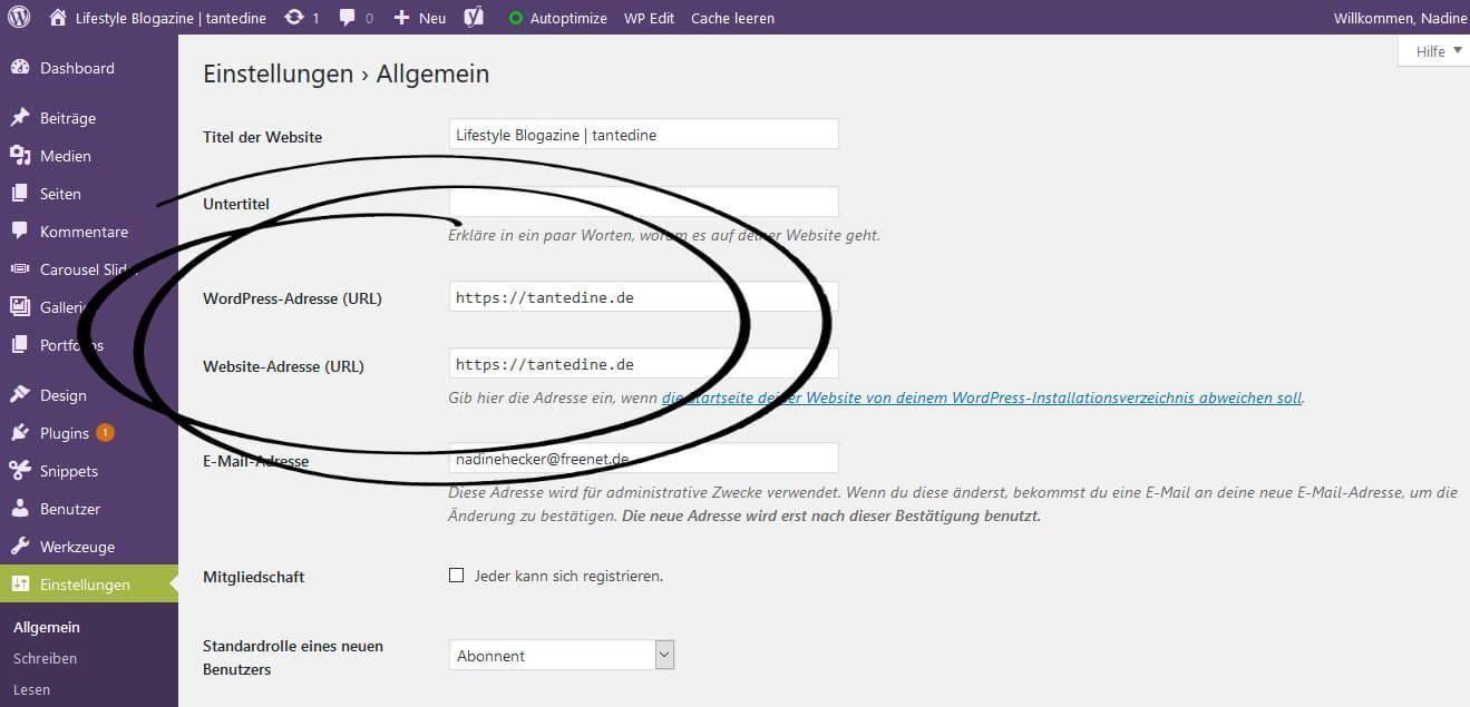 Wordpress https Umstellung SSL Zertifikat how to Anleitung tantedine