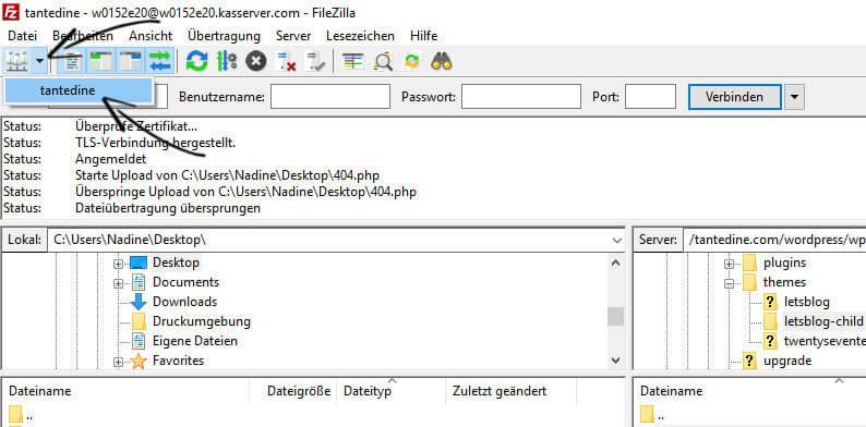 FTP Zugang WordPress Blog selbst gehostet All inkl Portname Blogger Tipps tantedine